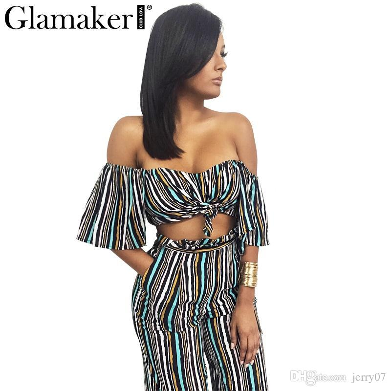 19a7f708f5e 2019 Spring Off Shoulder Two Piece Striped Loose Pants Sexy Slim Casual  Jumpsuit Romper Cool Summer Elegant Jumpsuit From Jerry07