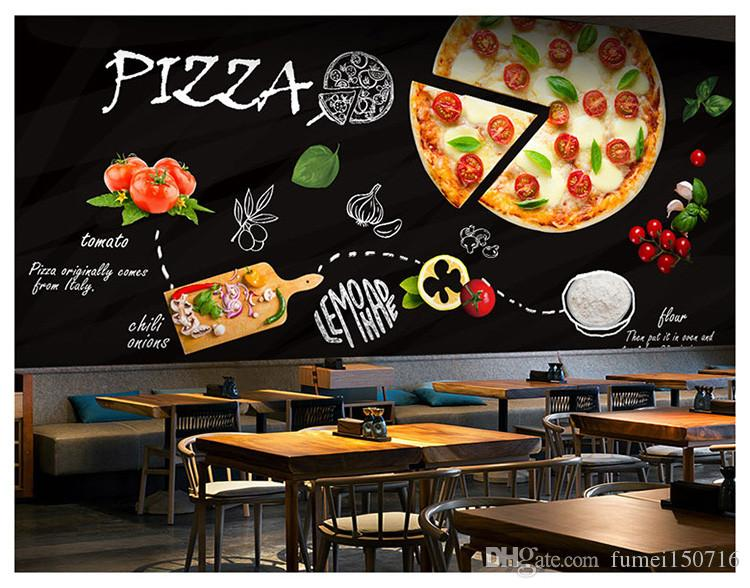 Custom 3d Mural Blackboard Graffiti Food Pizza Theme