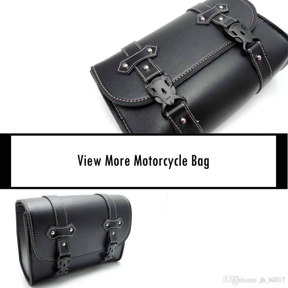 Sacoche en cuir PU Sac en cuir Sissy Bar Sacs à outils de rangement pour Harley pour Honda Shadow Moto sacs à outils