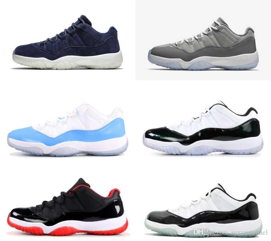 11238879385 TOP Factory Version 11 Low Bred Concord Cool Grey Blue Suede White Blue  EMERALD With Box Michael Sports Basket Ball Shoes Barkley Shoes From  Sexymichael