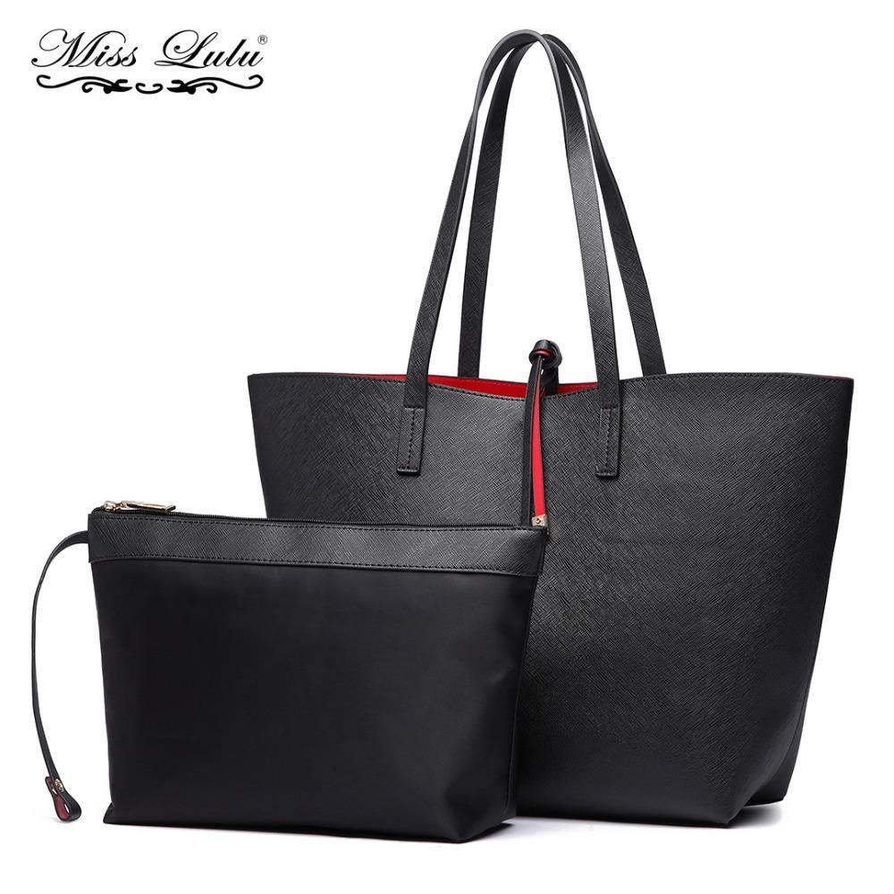 bcfc0547cb0 Compre Miss Lulu 2 Unidades Mujer Diseñador Bolsos De Moda Mujer Hobo  Bolsos De Hombro Reversible Señoras De Cuero Grandes Comprador De Mano  LT6628 ...