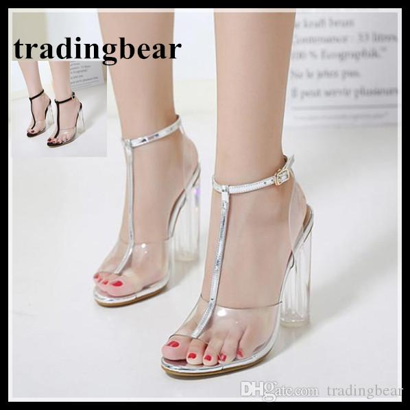 79141cfa491 Big Size 35 To 40 41 42 Silver Clear Transparent High Heel Sandals Women  Wedding Shoes 2018 Blue Shoes Cheap Sandals From Tradingbear