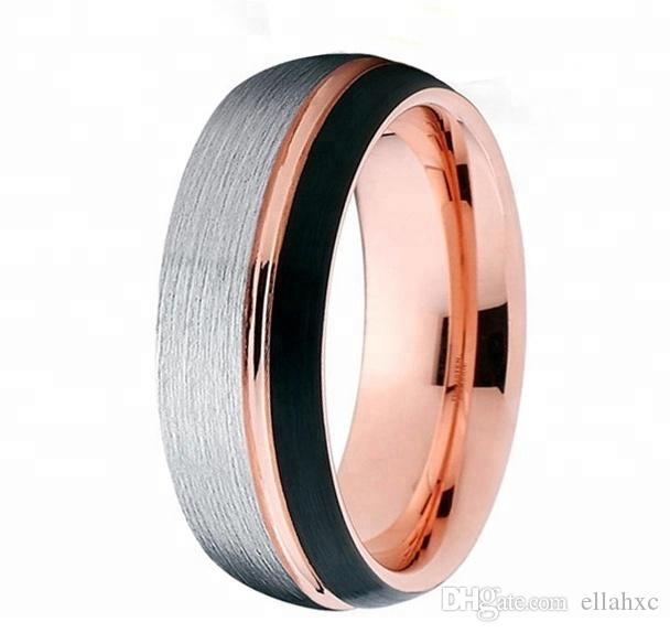 Mens Rose Gold Wedding Band.Men S Vintage Simple 18k Rose Gold Engagement Wedding Tungsten Ring Wedding Band
