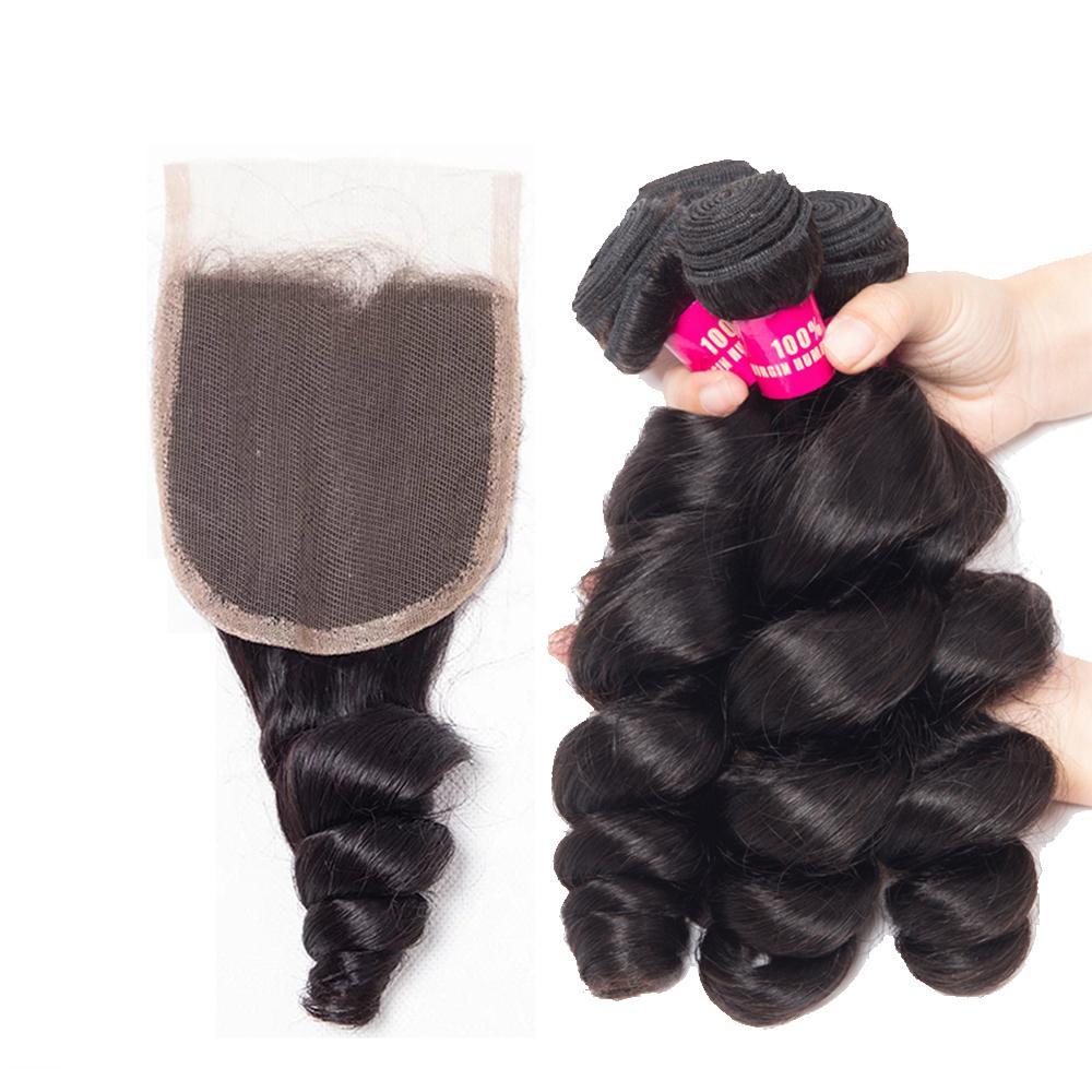 البرازيلي مستقيم الجسم موجة فضفاض موجة غريب مجعد الشعر حزم مع 4x4 إغلاق غير المجهزة البرازيلي العذراء الإنسان الشعر مع الدانتيل إغلاق