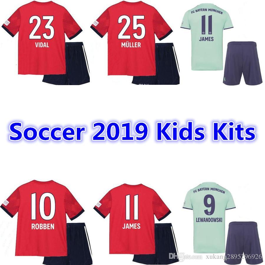 0badd55c202 2019 18 19 Bayern Munich Away Champions League Maillot De Foot Kids Kits  TOLISSO LEWANDOWSKI VIDAL COATA RIBERY ROBBEN Maillots De Football From ...