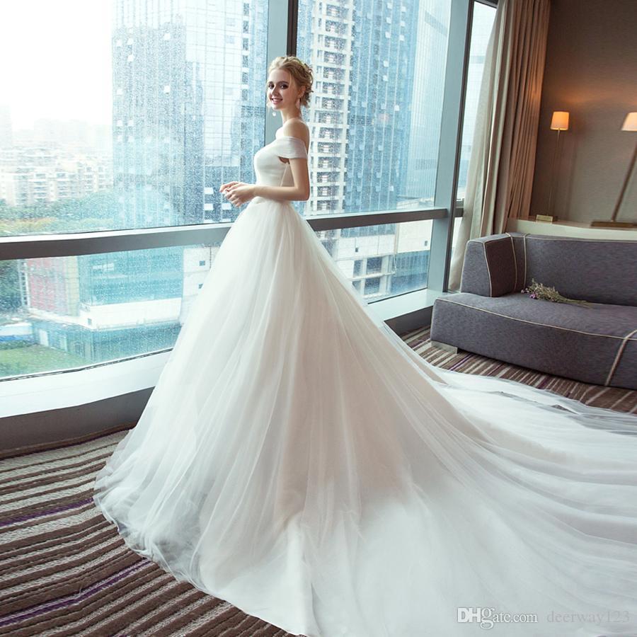 Simples Branco Ruched Vestidos de Casamento A Linha de Vestidos de Tule Cap Manga Plissada Vestidos De Noiva 2019 Novos Vestidos Baratos Do Casamento