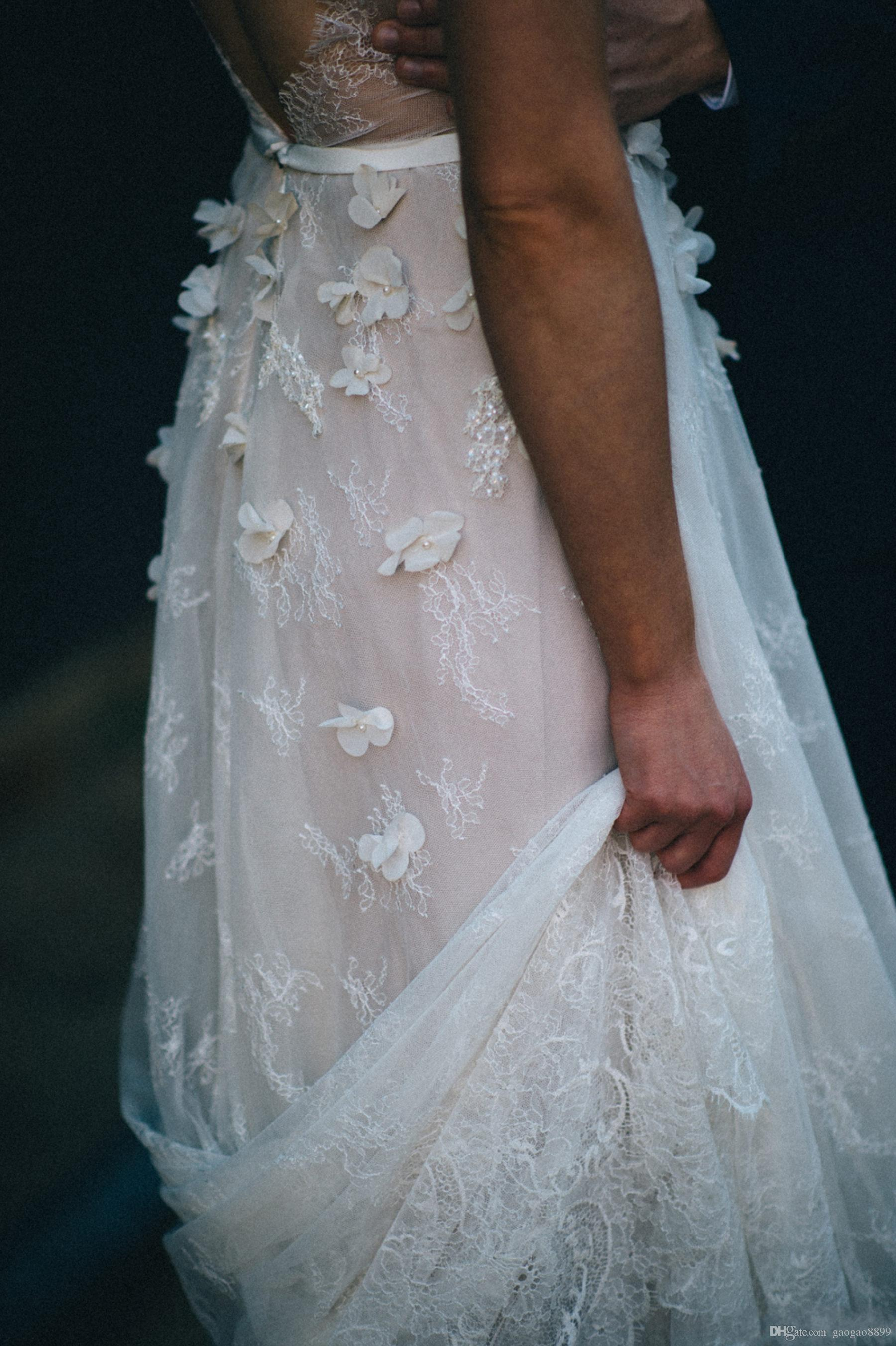 2019 estilo country lace vestidos de casamento vestidos de noiva mangas curtas pérolas 3d flor praia vestido de noiva vestidos de casamento boêmio