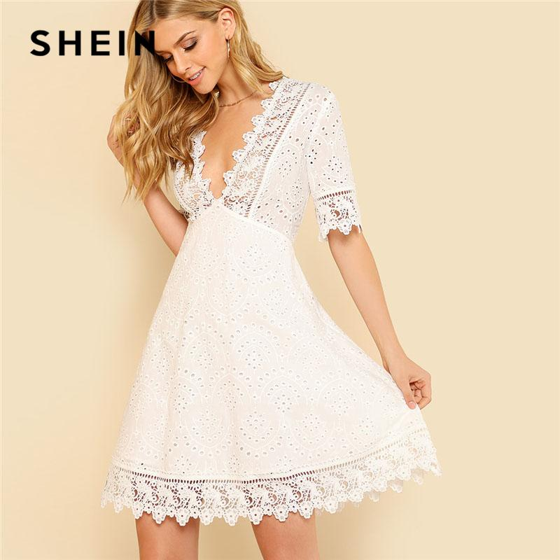 a5b4c8760e4c SHEIN Lace Trim Eyelet Embroidered Dress Women White Deep V Neck Half Sleeve  Cut Out Plain Dress 2018 Summer Sexy Cotton Dress Y1890703 Special Occasion  ...