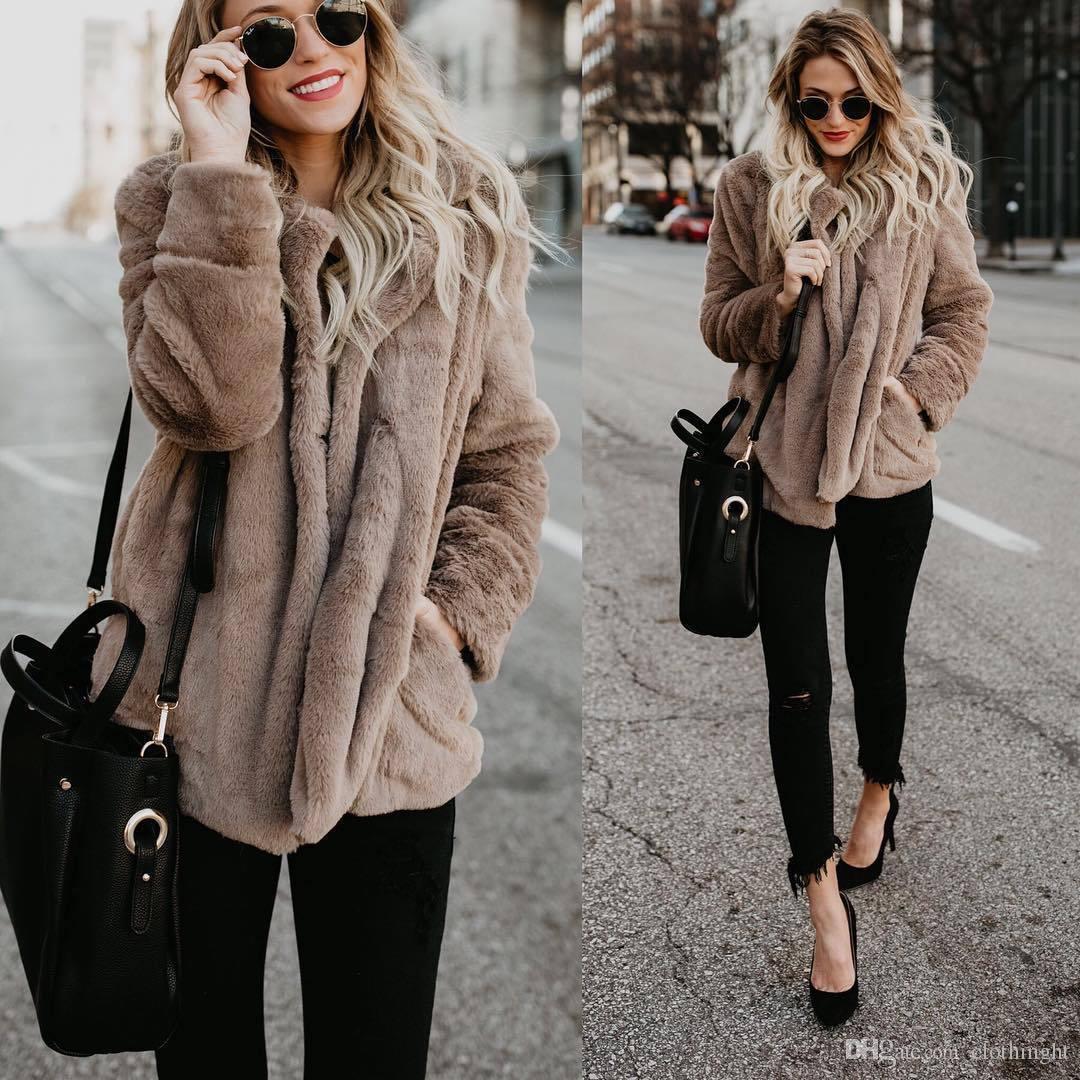 186c1774da60c Compre Fluffy Largo Abrigo De Piel Sintética De Las Mujeres Espesar Invierno  Streetwear Streetwear Rosa Negro Abrigo Para Mujer Moda Streetwear Cardigan  ...