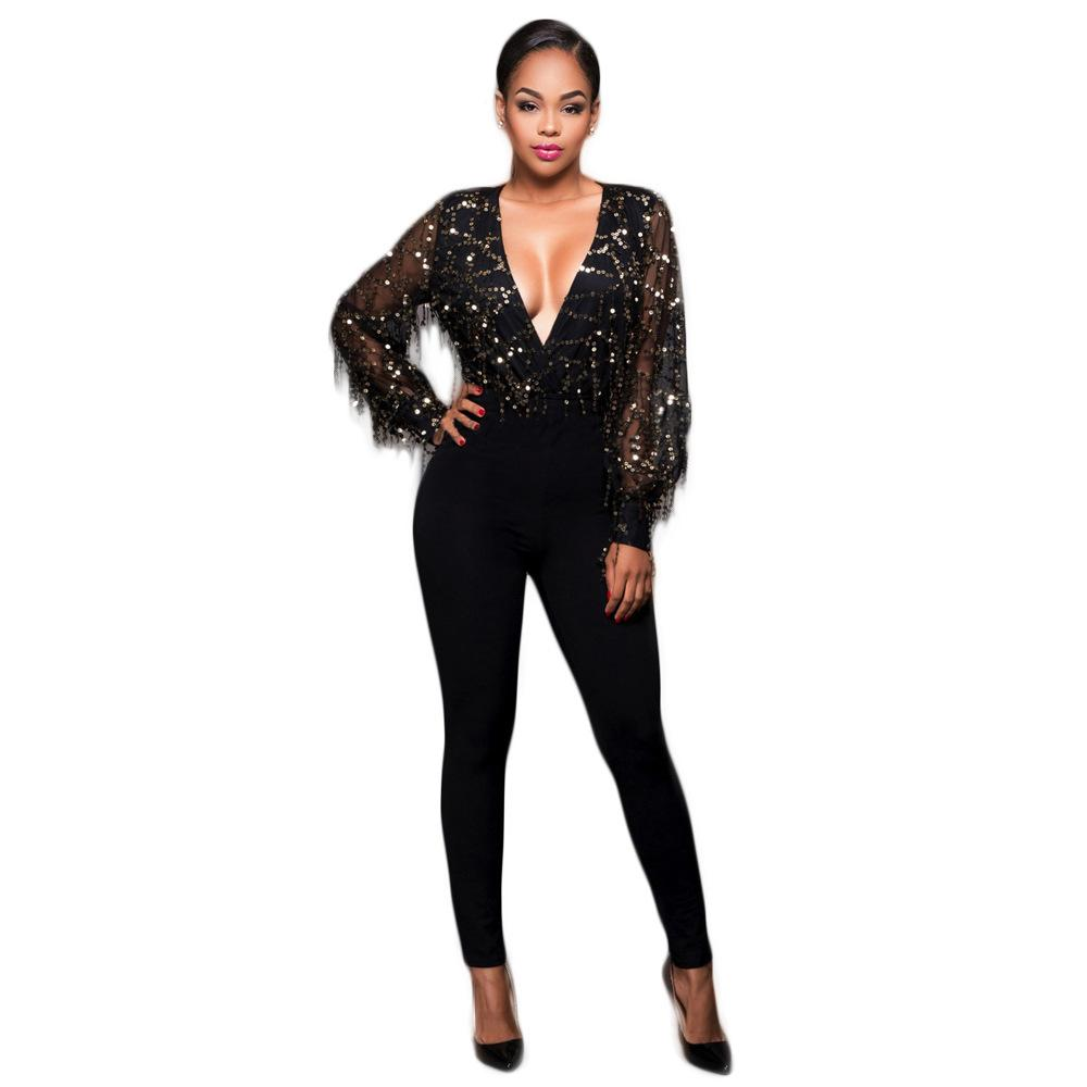 ca8343d5a40 2019 Women Jumpsuit Black Sequin Jumpsuit Women Long Sleeve Sparkly Bodycon  Jumpsuits Sexy Rompers Glitter Party Jumpsuits Overalls From Qingxin13
