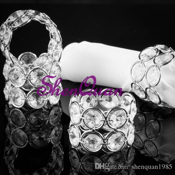Bling metal crystal beaded bling bling napkin rings Serviette Holder silver or gold for wedding table decoration