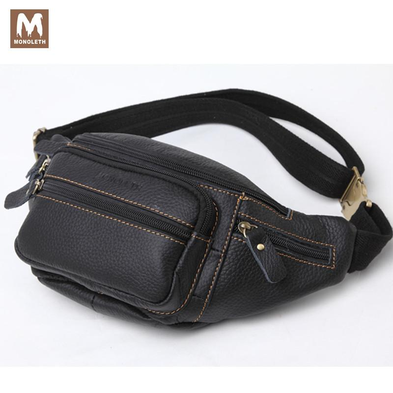 MONOLETH Men s Genuine Leather Waist Pack Travel Bag For Men Ipad Bag  Mental Buckle Belt Casual Small Bags Crossbody W6003 7bfe9ced42b7c