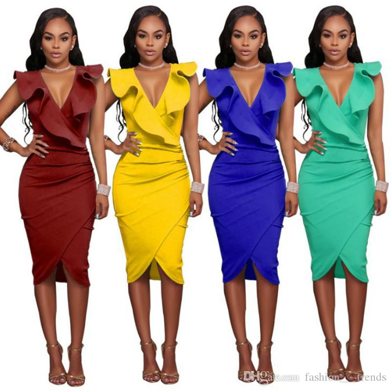 6ff1311b468 2018 Popular Sexy Women Summer Dress Fashion Sleeveless V Neck Pencil Party  Dresses Elegant Ladies Ruffles Bodycon Slim Midi Club Vestidos Evening  Dresses ...