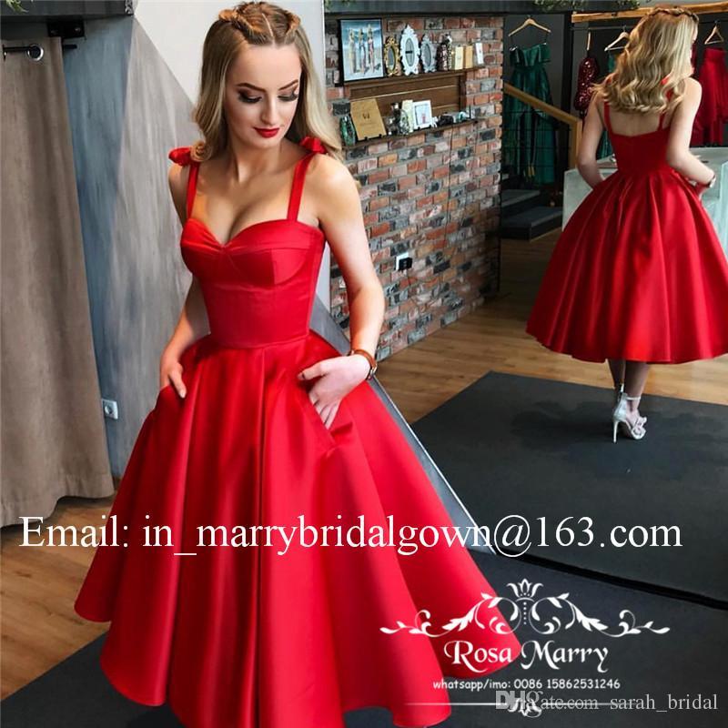 1950s Retro Red Black Prom Dresses 2020 Una linea di lunghezza del tè Plus Size economici Satin Short Cocktail Evening Party Gowns con tasche