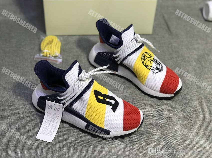 0ac335cd6 2018 Hotsale New Human Race Pharrell X Designer Heart Mind Shoes Men Women  Luxury Shoes Ultra The Embroidery Sneakers With Box Size 36 46 Running  Shoes ...