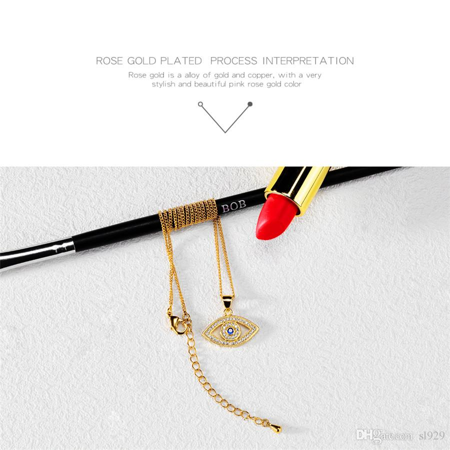 Europe And The United States Fashion Classic Evil Eye Pendant Plush Color Short Clavicle Chain Necklace Female Micro-Jewelry Wholesale