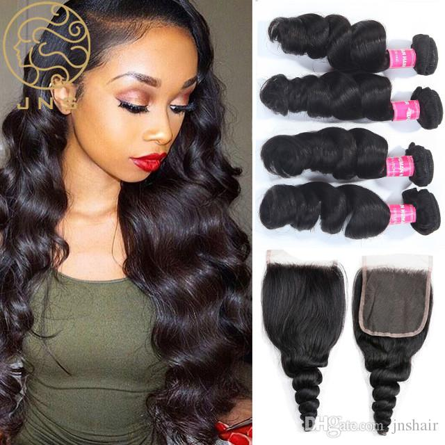 9a Indian Human Hair Extensions Loose Wave 34 Bundles With 1