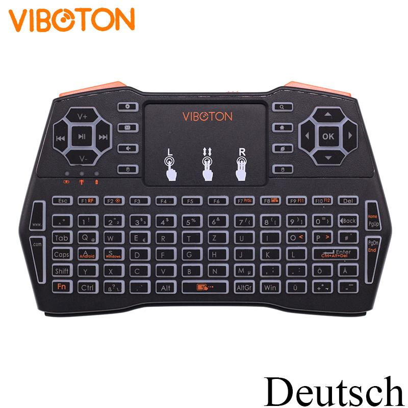 [100pcs] Viboton i8 Plus Backlit (Deutsch) German 2.4G Mini Wireless Keyboard Air Mouse for Android TV Box, Mini PC, Laptop