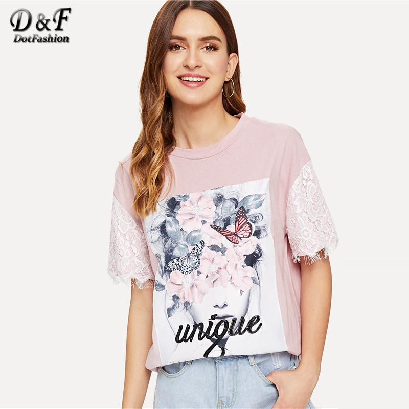 Dotfashion Floral Print Lace Panel Tee 2018 Summer Women Casual Round Neck Short Sleeve Tops Ladies Pink Regular Fit T-shirt
