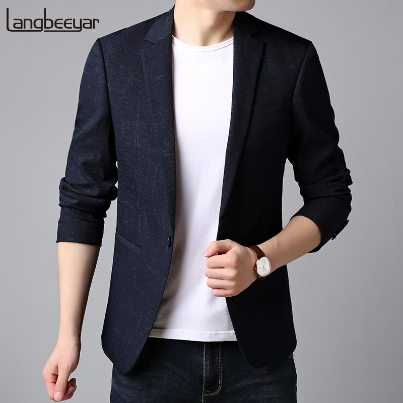 59822ed7e0e 2018 New Fashion Brand Blazer Jacket Men s Navy Pattern Slim Fit ...