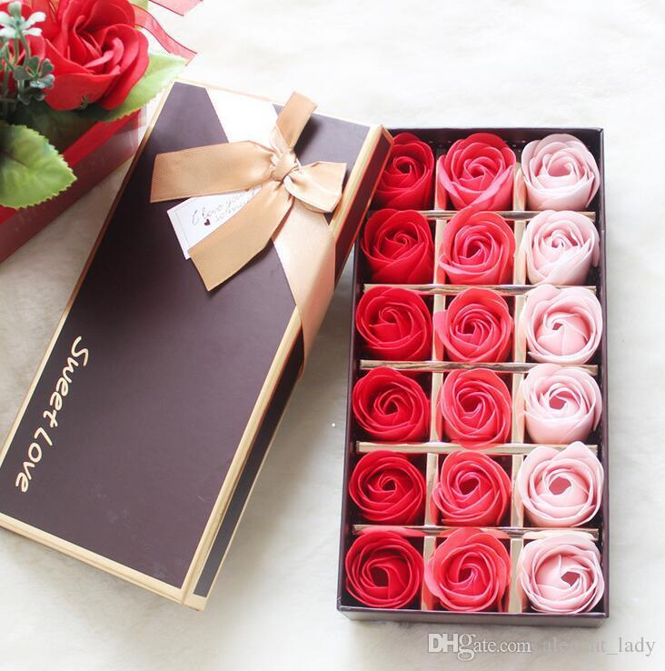 18PCS Rose Soaps Flower Packed Wedding Supplies Gifts Event Party Goods Favor Toilet soap Scented bathroom accessories