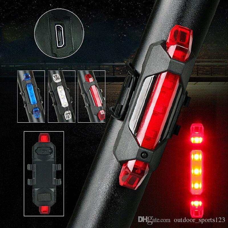 Portátil 5 LED USB MTB Bicicleta de carretera Luz de cola Recargable Advertencia de seguridad Bicicleta Luz trasera Lámpara Ciclismo Bicicleta luz