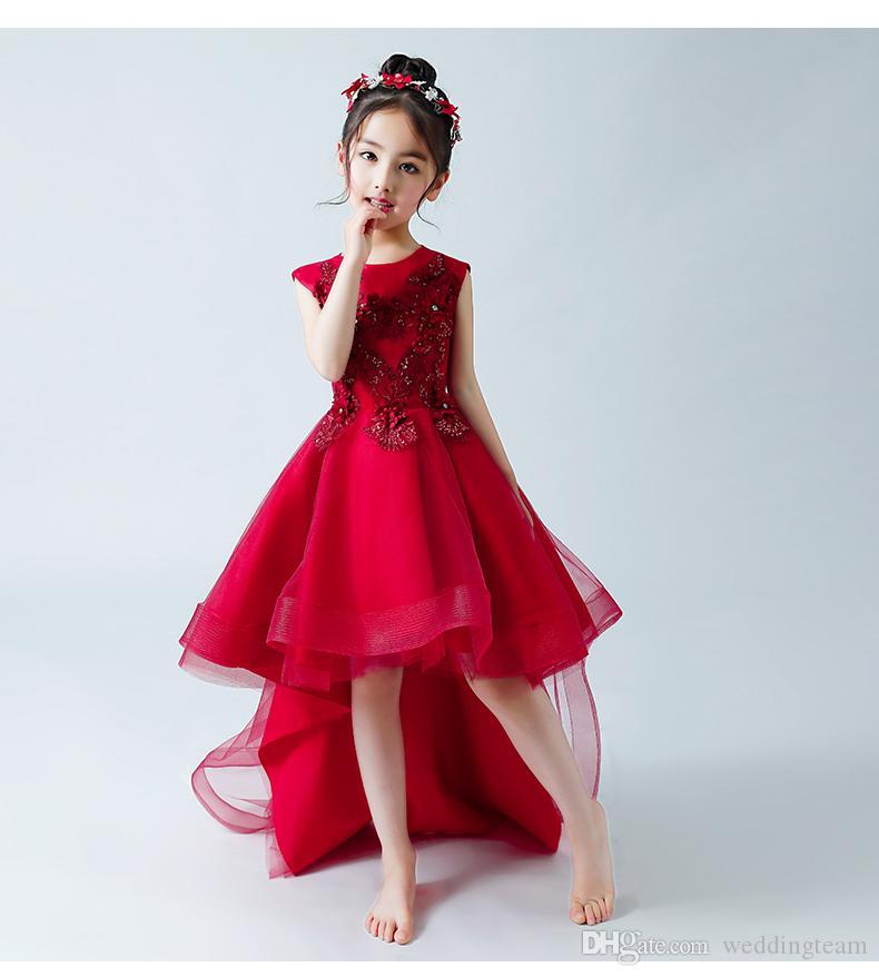 Red High Low 3D Applizierte Blumenmädchenkleider Für Hochzeiten Perlen Kleinkind Festzug Kleider Hohlkreuz Organza Kinder Abendkleid