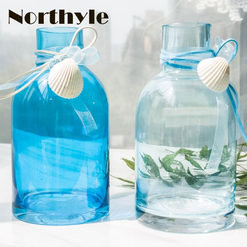 Blue Sea Style Glass Vase Flower Bottle Shell Garden Decoration
