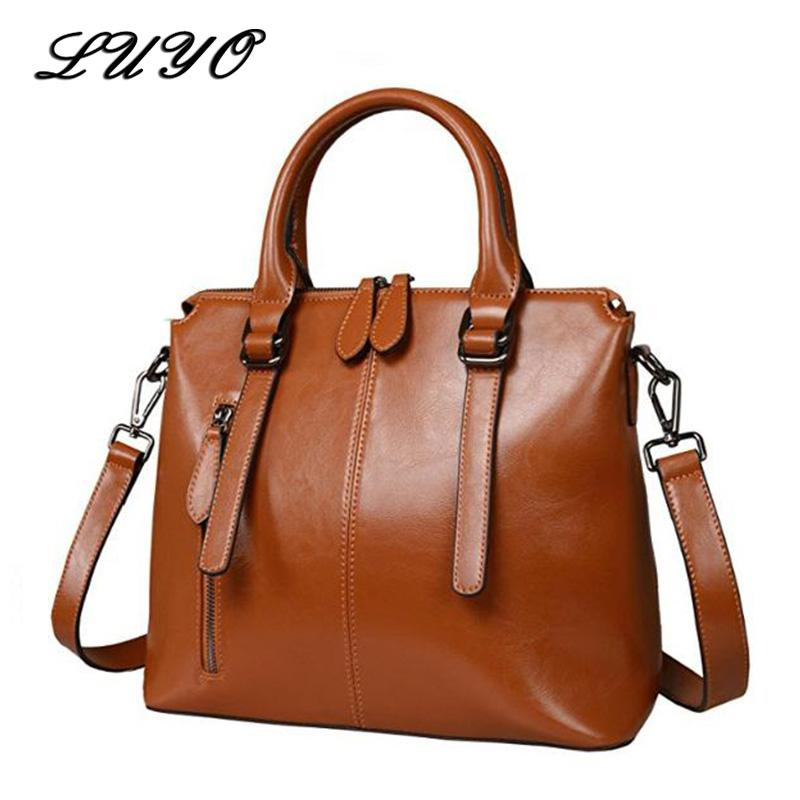 LUYO Brand Fashion Wax Oil Luxury Genuine Leather Briefcase Top-handle Shoulder Bags Female Ladies Handbags Women Blue Tote Bag