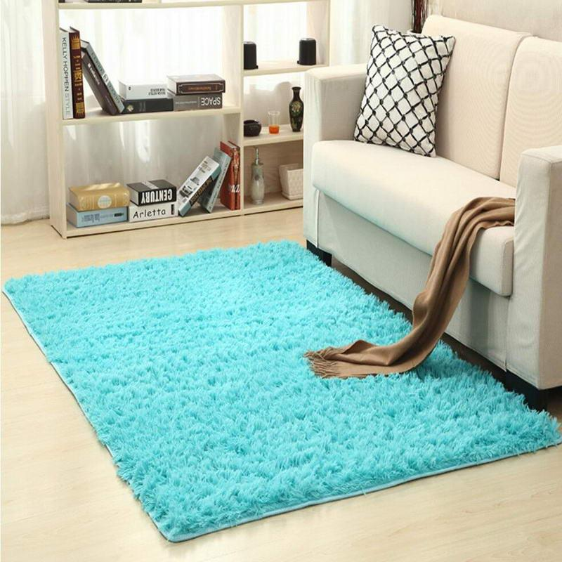 Blue Living Room Carpet European Fluffy Mat Kids Room Rug Bedroom Mat  Antiskid Soft Faux Fur Area Rug Rectangle Mats Custom Made