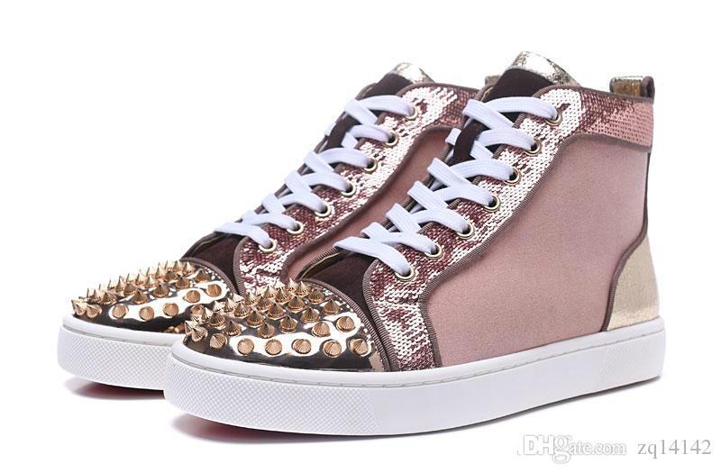 dfa4cf131b20 Original Box Men Women Pink Suede Back Gold Leather With Snail Print ...