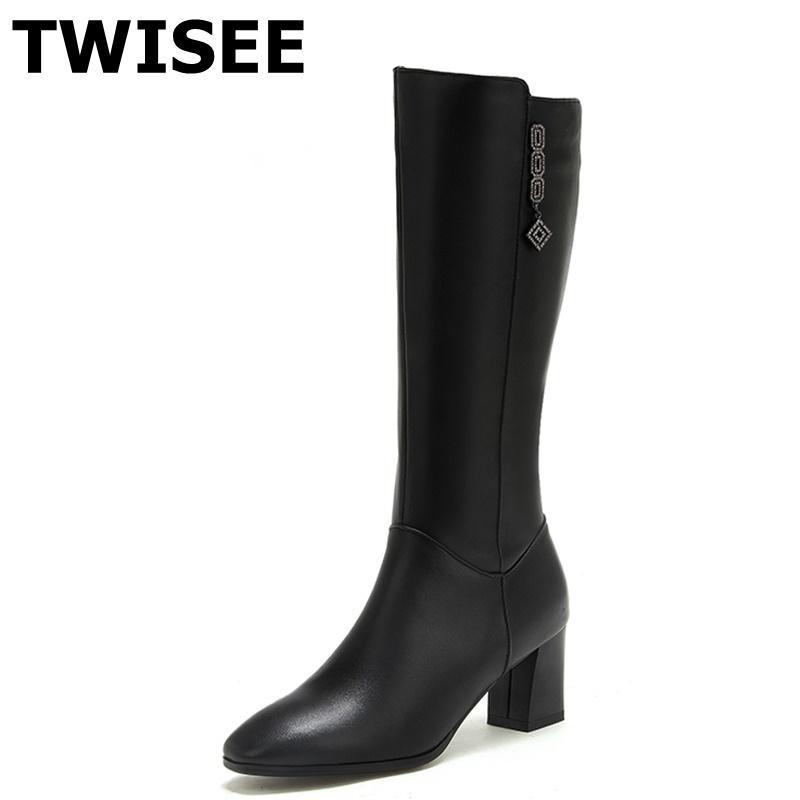 3ee0ee123f Compre Mulheres Kenn Botas Altas Venda Quente Sapatos Femininos Bombas  Outono Mulher Sapatos Casuais Sapatos De Couro Genuíno Saltos Quadrados 6  Cm De ...