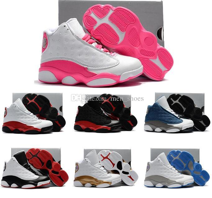 the latest 2983e 6a35d Boy Girls Kids 13s White Pink He Got Game Basketball Shoes Children Baby 13  Black Blue Flints Playoffs Kid Gifts Sneakers