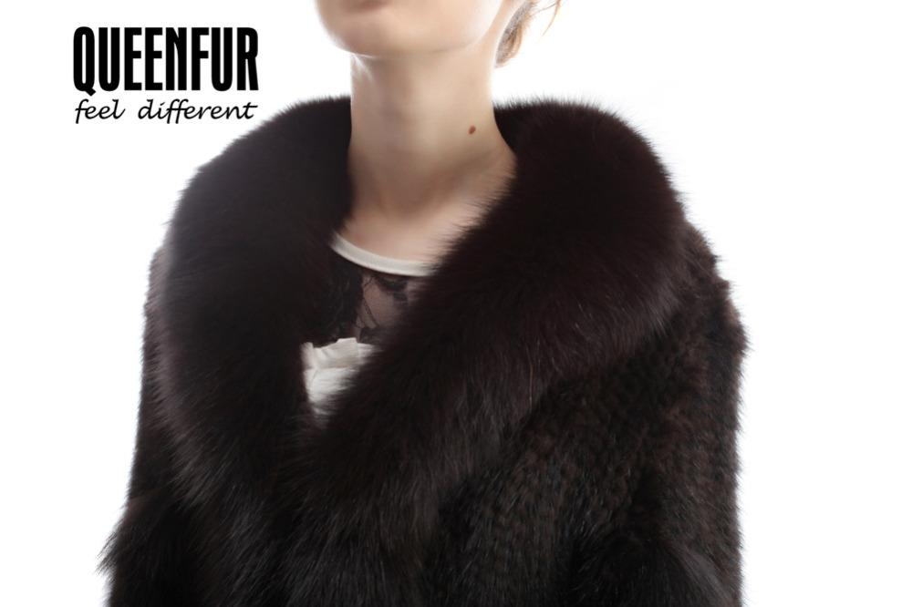 2017 New Genuine Knit Mink Fur Shawl Poncho With Fox Trimming Real mink fur jacket Fashion Women TPPM0001