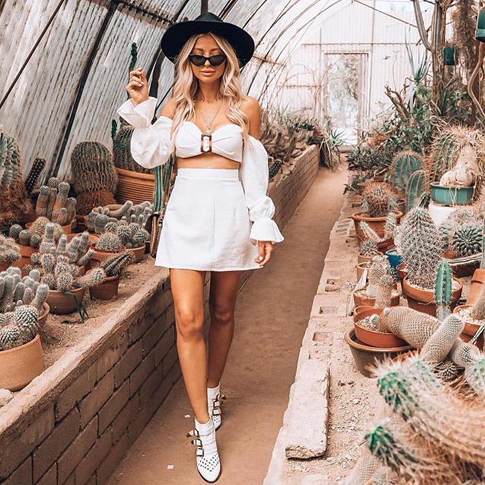 d78d5c9b26342 2019 Women S Two Piece Sets Summer Sun Dress Flare Long Sleeve Shirt  Strapless Short Woman Clothing T Shirt Top Sexy Mini Skirt Women Suits From  ...