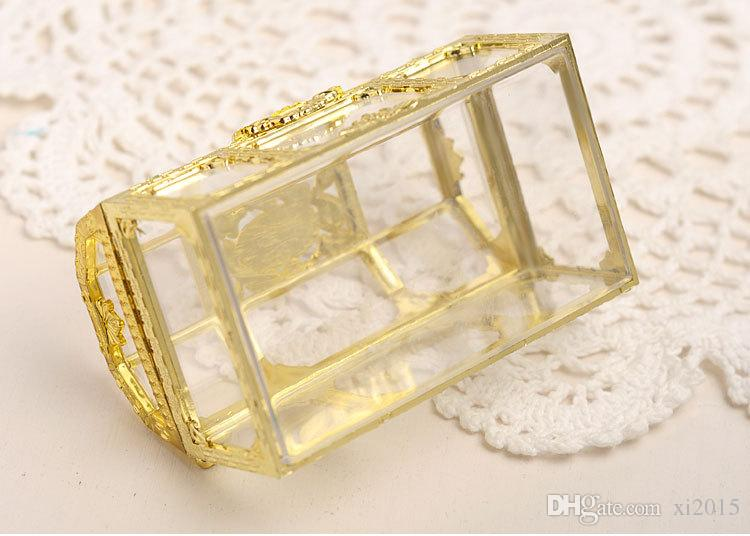 European style gold silver plastic candy box treasure chest shaped wedding favor gift box wholesale wen6560
