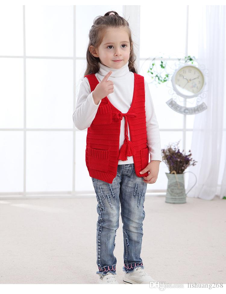 2018 Autumn Lace tassel Girls Knitting Vest pocket Baby coat Knitted Sweater Vest Spring Kids Outerwear Solid Children Jackets