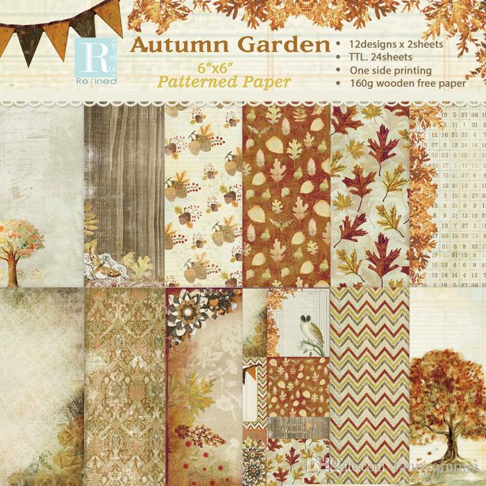 "DIY Photo Album Scrapbooking set Decorative Papers Autumn Garden Craft paper 6""inch X 6"" inch Single Side Printed"