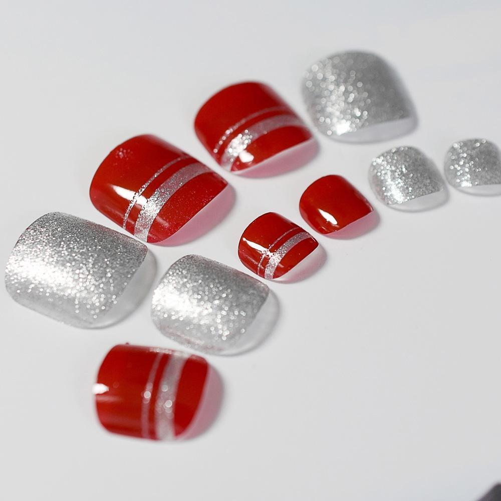 Acquista 24 Pz Rosso False Unghie Argento Glitter Gel Uv Chiodo