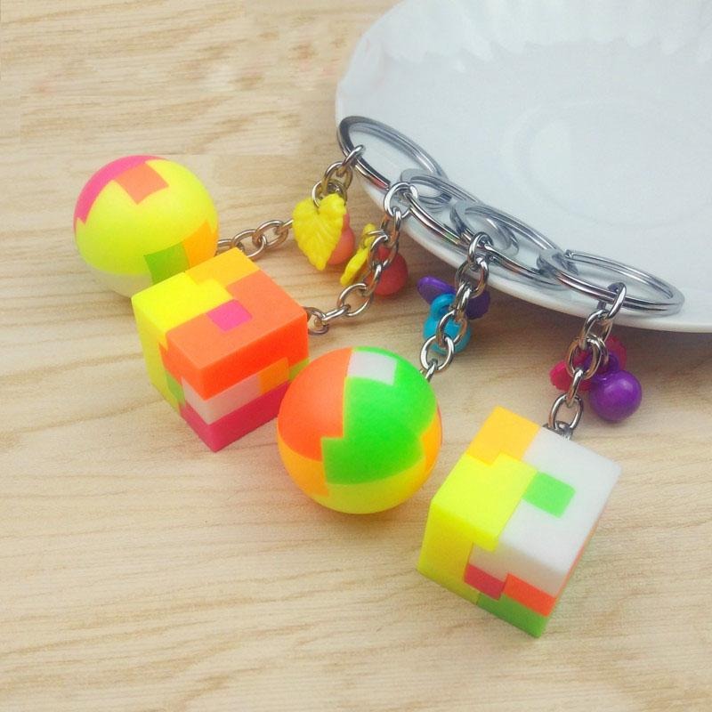 1Pcs Toys for Kids keychain for Girls Wooden Building Blocks Pendants Llaveros Chaveiro Girls and Porte Clef Llaveros Mujer
