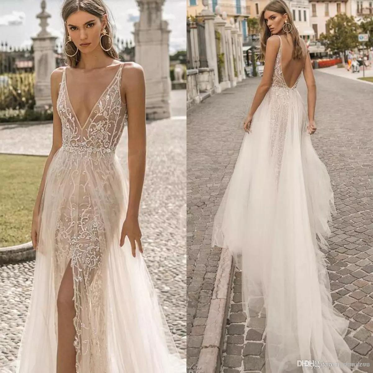 aa7002667378 Discount Berta 2019 Beach Wedding Dresses Illusion V Neck Lace Appliques Bridal  Gowns Side Split Tulle Backless Designer A Line Wedding Dresses Wedding ...