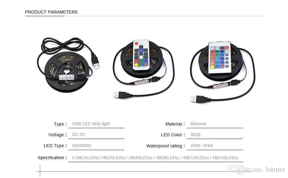 DC 5V USB LED luce RGB 5050 SMD led strip light USB LED nastro String Bias illuminazione TV schermo Desktop PC LCD Monitor Decor lampada
