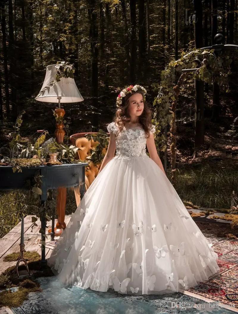 großhandel schöne prinzessin blumenmädchenkleider für hochzeiten perlen  blumen schmetterlinge kinder hochzeit kleid pageant kleider von gddy, 34,53  €