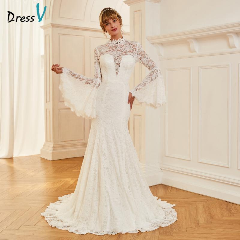 compre al por mayor vestido de novia de marfil de cuello alto corte