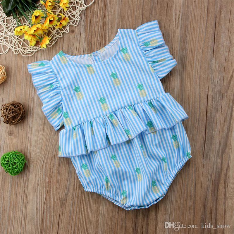 Bebê recém-nascido Menina Abacaxi Impressão Rompers Fly Sleeve azul Listrado Macacão Outfits Roupas Bonito Verão Casual