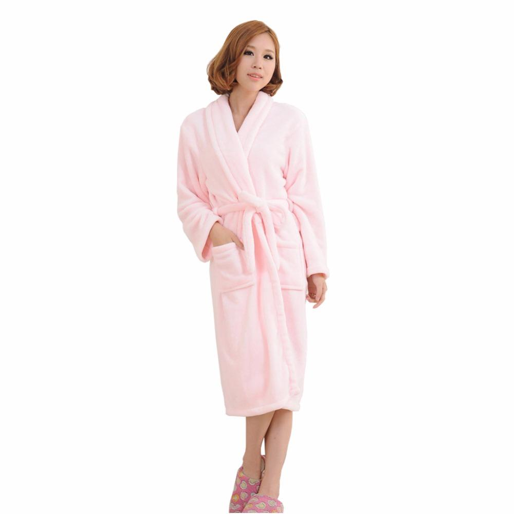 661fcb7de781 2019 Winter Solid Color Unisex Plus Size Sexy Super Soft Thick Flannel Pocket  Nightgown Belt Home Service Sleepwear From Caicloth
