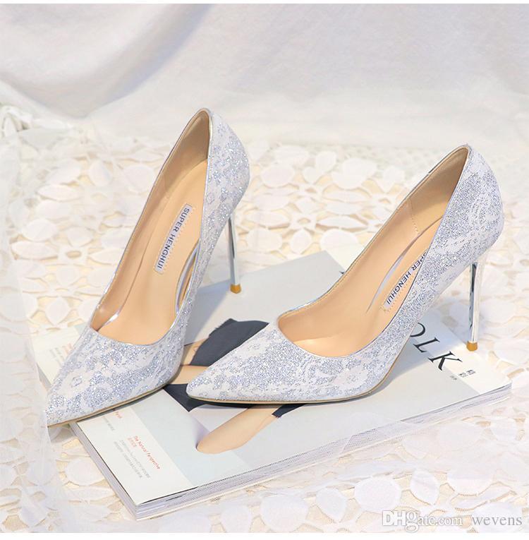 Scarpe Pizzo Sposa.Acquista Brillante Scarpe Da Sposa In Pizzo La Sposa Paillettes