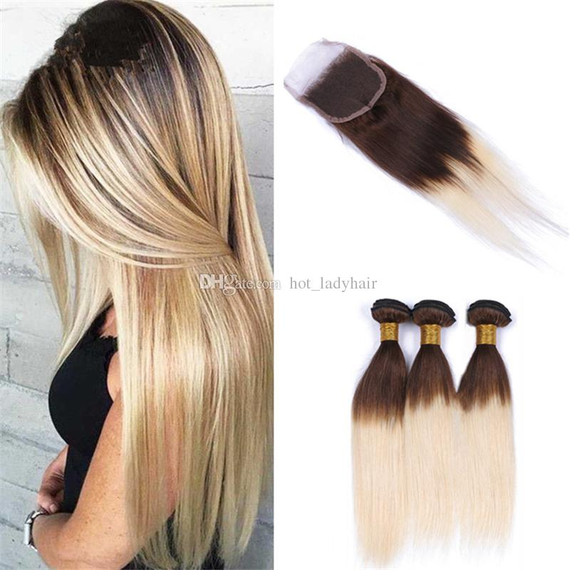 2019 Two Tone 4 613 Brown Blonde Ombre Straight Hair Bundles With