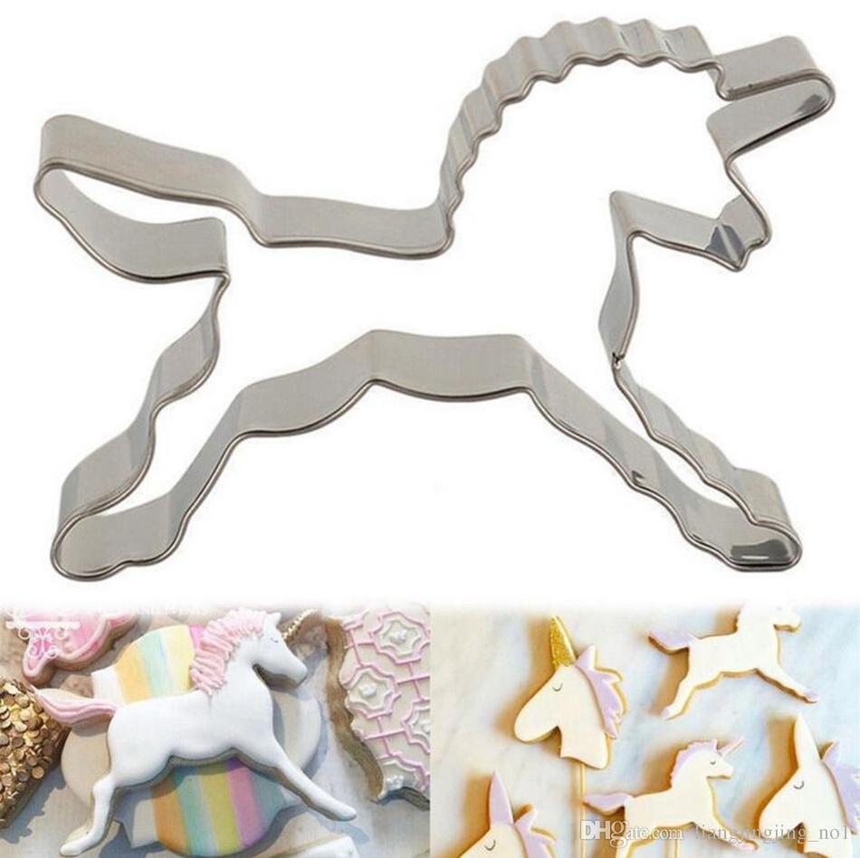 Aço inoxidável unicórnio cavalo cookies cortador de moldes bolo bonito decoração de pastelaria biscuit molde de cozimento ooa4195