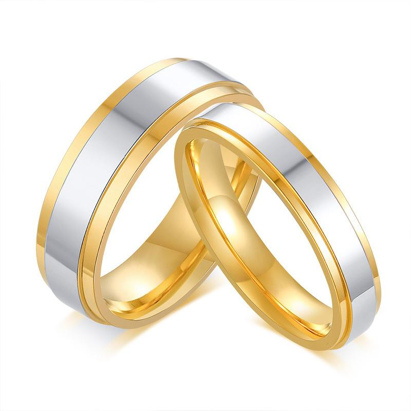 2018 Classic Wedding Rings For Men Women Gold Color Stainless Steel
